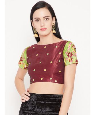 Red Embroidered Dupion Readymade Blouse