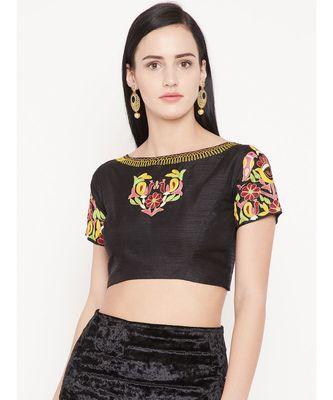 Black Embroidered Dupion Readymade Blouse