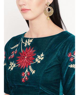 Green Embroidered Velvet Readymade Blouse