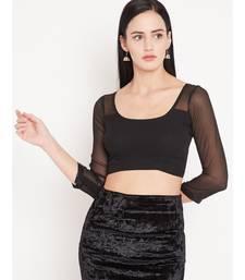 Black plain Georgette readymade blouse