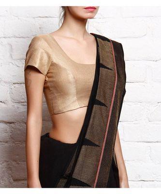Gold plain BROCADE readymade blouse