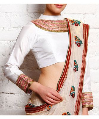 White Embroidered Dupion Readymade Blouse