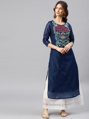Navy-blue embroidered chanderi kurta