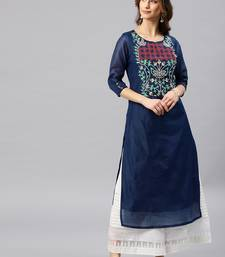 Navy-blue embroidered chanderi kurta