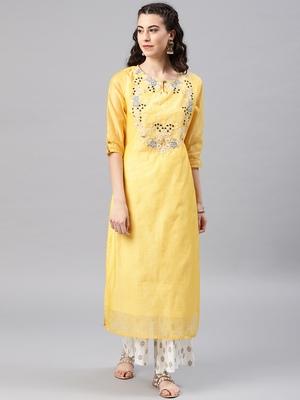 Yellow embroidered chanderi kurta