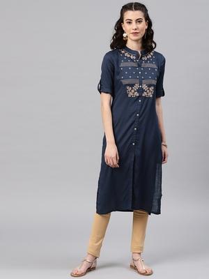 Navy-blue embroidered viscose rayon kurta