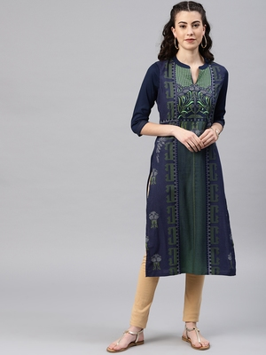 Navy-blue embroidered viscose rayon kurta