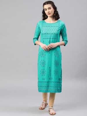 Turquoise embroidered viscose rayon kurta