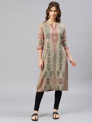 Beige embroidered viscose rayon kurta