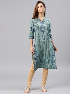 Green embroidered viscose rayon kurta