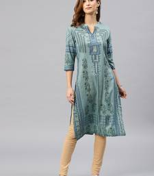 Green embroidered viscose rayon kurta