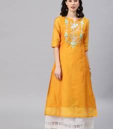 Mustard embroidered chanderi kurta
