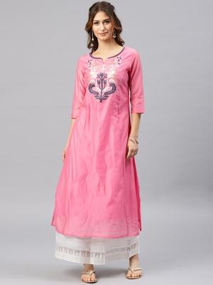 Onion-pink embroidered chanderi kurta
