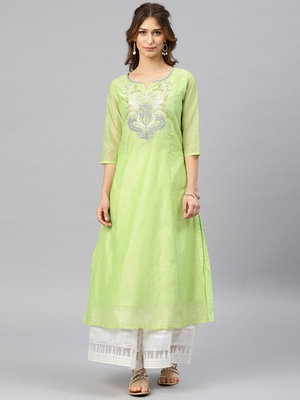 Lime embroidered chanderi kurta