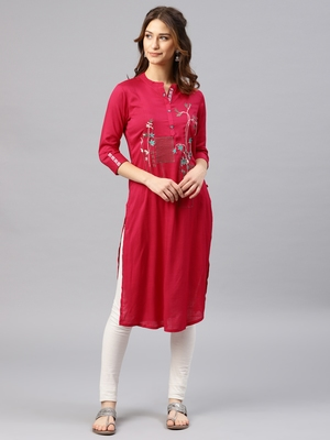 Pink embroidered viscose rayon kurta