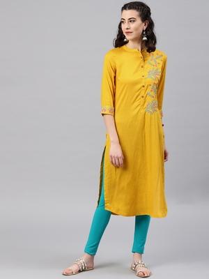 Mustard embroidered viscose rayon kurta