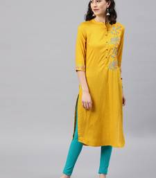 Mustard embroidered viscose rayon kurta