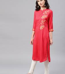 Coral embroidered viscose rayon kurta