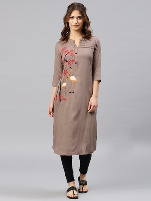 Grey embroidered viscose rayon kurta