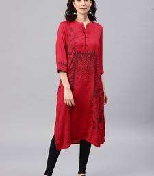 Red embroidered viscose rayon kurta
