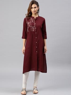 Maroon embroidered viscose rayon kurta