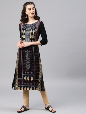 Black embroidered viscose rayon kurta