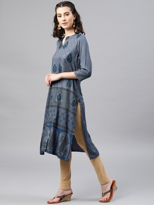 Blue embroidered viscose rayon kurta