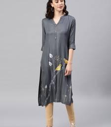 Grey embroidered viscose rayon kurta