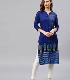 Royal-blue embroidered viscose rayon kurta
