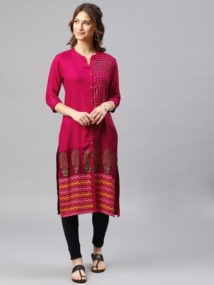 Pink embroidered viscose rayon kurta