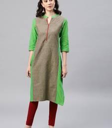 Green woven cotton kurta