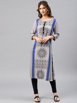 Light-grey printed viscose rayon kurta