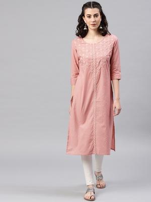 Peach printed cotton kurta