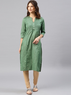 Dark-green plain cotton kurta
