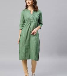 Dark-green plain cotton kurta