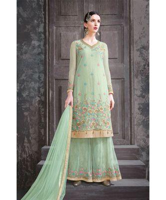 green embroidered net unstitched salwar with dupatta