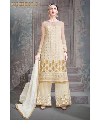 cream embroidered net unstitched salwar with dupatta