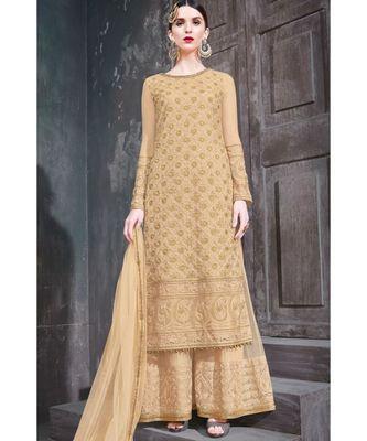 golden embroidered net unstitched salwar with dupatta