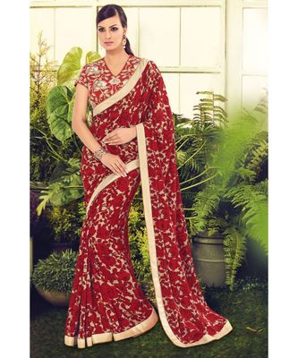 red embroidered crepe saree with blouse
