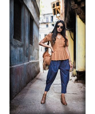 Fantasy Blue Cowl Baggy Ankle Khadi Pants And Top
