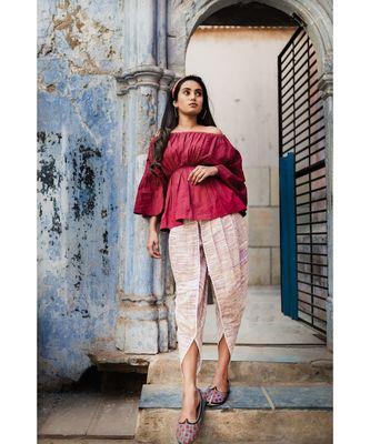 Fantasy Violet Khadi Tulip pants and maroon top combo