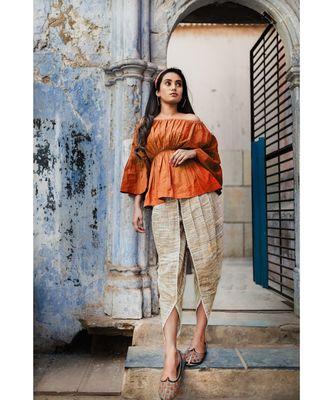 Fantasy  Slub Khadi  Rust-Mehendi Pants And  Top Combo
