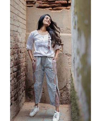 Blue Khadi Ankle Length C-Pants and Top