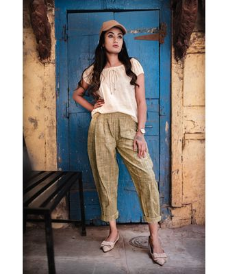 Fantasy  Dull Green  Pleated Casual Pants And Top Combo