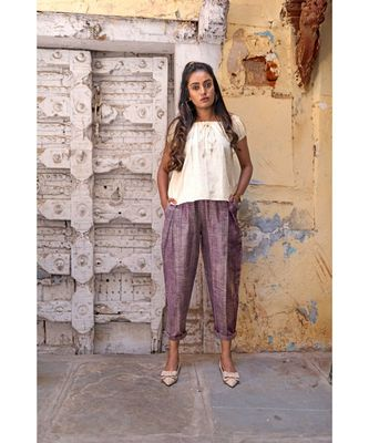 Fantasy Dull Lilac Slub Pleated Casual Pants and Top Combo