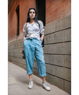 Fantasy Blue Denim Slub Khadi Pants And Waist Tieup Top