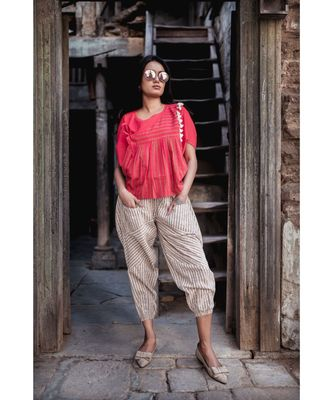 Fantasy  Batwing Red Khadi Top And Jawahar Stripie Pants Combo