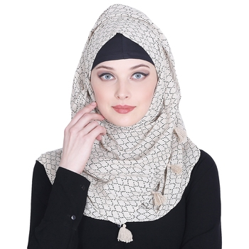 Beige printed cotton hijab