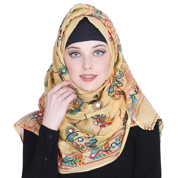 Multicolor embroidered cotton hijab