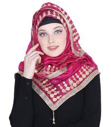 Pink embroidered silk blend hijab